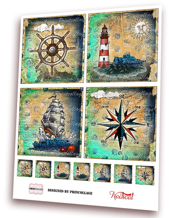 Nautical Images Printable Collage For Coasters Greeting