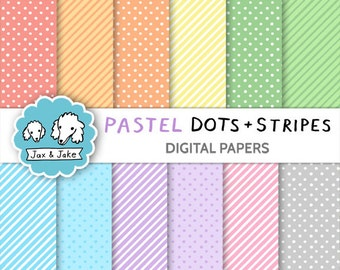 Pastel Dots and Stripes Digital Papers for Personal and Commercial Use