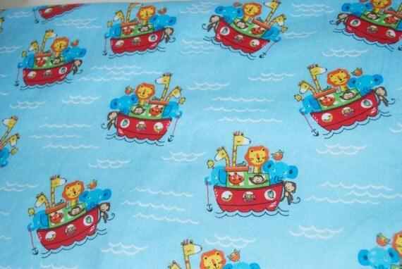Baby boy blue noah 39 s ark animal flannel fabric by the yard for Children s flannel fabric by the yard
