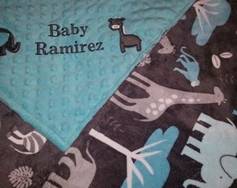 Personalized double minky zoology jungle tales with teal aqua dot minky TONS of PERSONALIZATION options