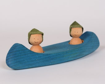 Wooden canoe, wooden natural boat, bath toy