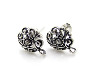 2 Pcs (1 Pair), Sterling Silver Ear Post
