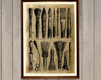 Paint brushes poster Art print Antique home decor Dictionary page WA539