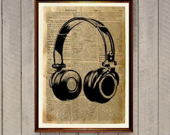 Dictionary print Headphones poster Antique decor WA667