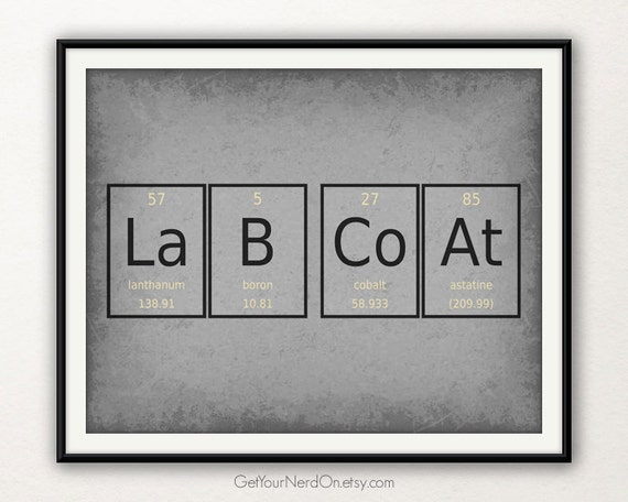 periodic table word poster lab coat wall art by getyournerdon. Black Bedroom Furniture Sets. Home Design Ideas