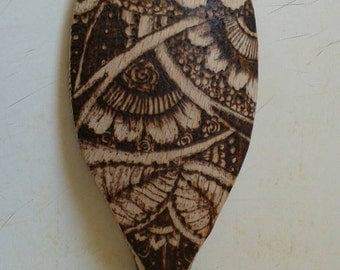 Flower- pyrography kitchen spoon