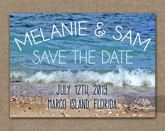 Beach Wedding Save The Date Invitation - Modern Nautical Beach Save The Date Card - Printable Destination Wedding - Blue Ocean Beach Photo