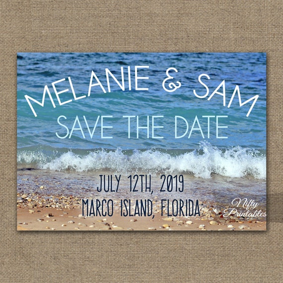 Beach save the date card printable destination wedding blue ocean