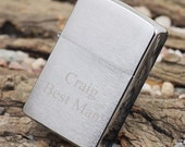 Personalized Zippo Lighter Brushed Satin Chrome Groomsmen and Bestman Fathers Day Gifts Gift perfect Gifts for Him
