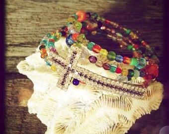 Handmade jewelry-memory wire wrap cross bracelet