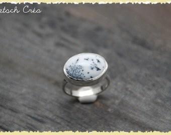 Ring Silver 925 & dendritic Agate cabochon