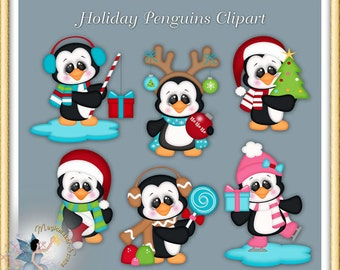 Holiday Christmas Penguin Clipart