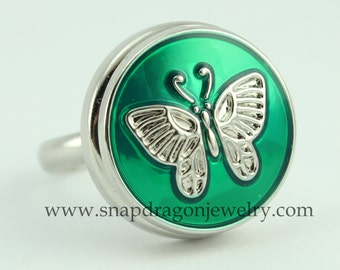 NOOSA Style SNAP Jewelry Chunk Popper Charm Button - Butterfly (Green)