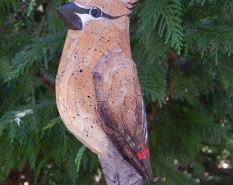 Hand Carved Bird Ornament (Cedar Waxwing)