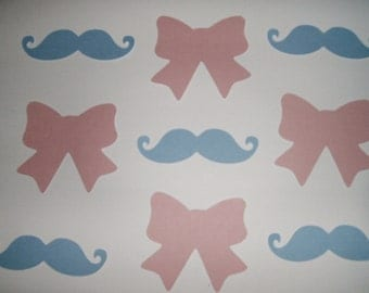Mustaches and Bow Die Cut,  Gender Reveal #100 pieces (3071M)