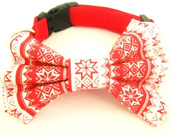 Christmas dog collar Bow tie dog collar Pet collar Christmas motif print bow tie Large dog collar Collar with bow tie