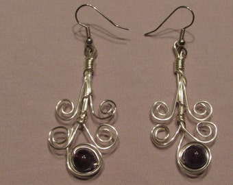 Whimsical Wire Wrapped Earrings with Amethyst Beads/ Handmade/ Hand Crafted