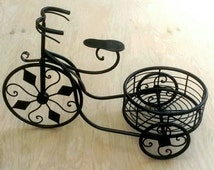 Popular items for wrought iron planter on etsy - Wrought iron bicycle wall art ...