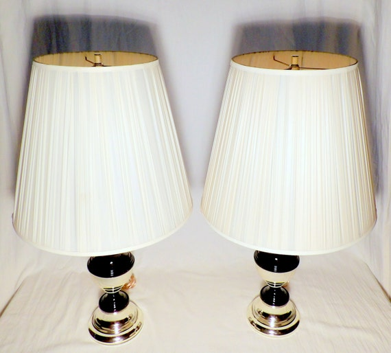 Modern Pair Of Lamp Table Bedside End Side Tables Solid: Pair Of Table Lamps 2 Vintage Stripe Lamp By