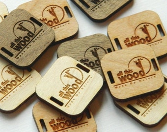 25 Product Tags - 0.85x0.85 Inches - laser cut and engraved