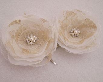 Hairpin, Hair accessories, Ivory Cappuccino Flower Hair Bobby pins, Flower Hair Pins, Bridal Hair Pins, Bridesmaid, Wedding hair pins