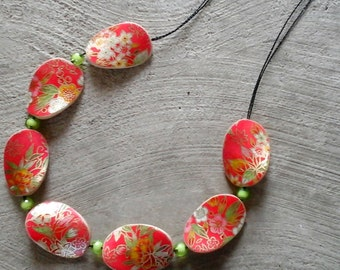 Japanese paper wooden necklace-Apricot and green