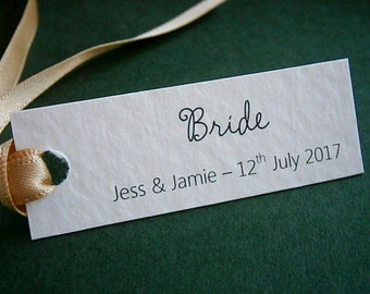 10 Personalised Wedding Place Name Card Gift Tags - Any Text