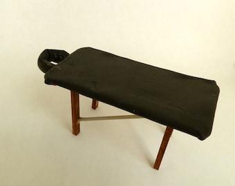 massage table leather dollhouse miniature 1/12 scale