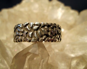 Hand Cast Nuggety Style Man's Band ~Sterling Silver~ Antiqued