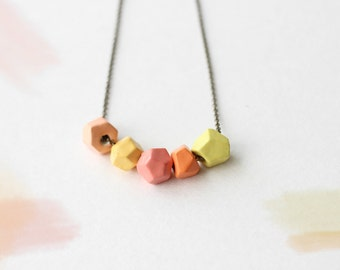 SALE! Geometric necklace. Clay beads necklace. Modern clay necklace. Short necklace. Beaded necklace. Clay bib necklace. Everyday necklace.