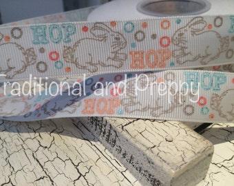 """7/8"""" Spring Easter Glitter  Bunny Hop grosgrain ribbon"""