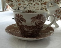 """Royal Crownford Brown Transferware Breakfast Cup and Saucer Set in the """"Tonquin"""" Pattern. Made in England."""
