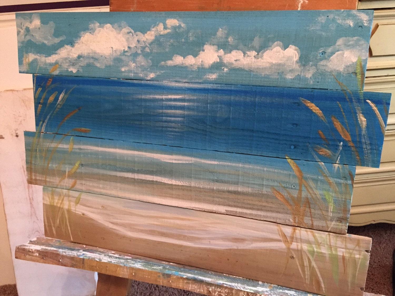 Ocean Beachscape Pallet Art Sign Nautical Reclaimed Wood
