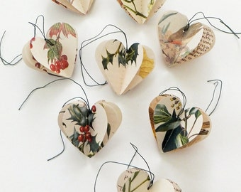 Christmas Hearts Decorations - 3D Heart Decorations - Christmas Ornaments - Cottage Christmas - Gift Tags