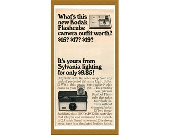 "1966 Kodak Flashcube Camera B&W Print AD / Sylvania lighting / 5"" x 10"" / Original Advertisement / Buy 2 ads Get 1 FREE"