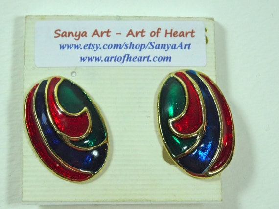 Clasp Vintage earrings - Red, Blue, Green, Gold