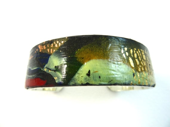 Handmade contemporary and abstract polymer clay bangle design