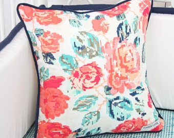 Everlys Garden Coral and Navy Floral Square Pillow