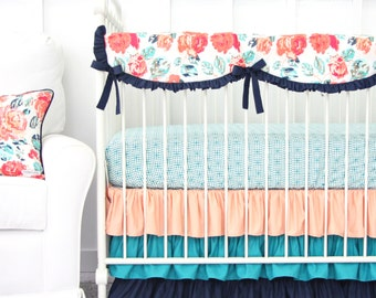 Everlys Garden Coral and Navy Bumperless Baby Bedding   Floral, Coral, Bright, Navy, Turquoise Girl Crib Set   Scalloped Teething Guard