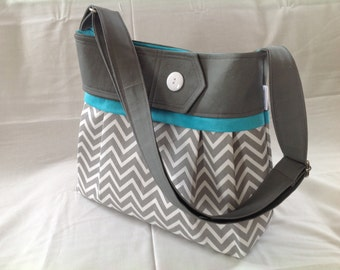 FREE SHIPPING!  Diaper bag  Grey and teal chevron , chevron, bag, purse with teal with button , grey chevron, christmas gift