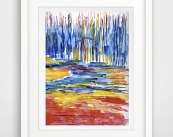 colored grass, colored landscape abstract painting watercolor drawing, abstract contemporary, modern wall art