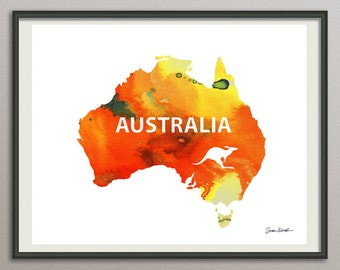 Australia map print, australia watercolor art print, Australia symbol, australia silhouette, australia decor, australia art poster