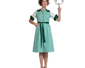 Green western button through shirtdress, Jane Green Gingham, retro dress, House of Dots