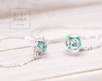 Mini silver set with turquoise dill flowers - set021