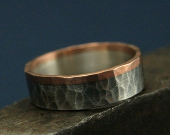 Rose Gold and Silver Ring--The Dark Heart Band--Hammered Band--Bimetal Wedding Ring--Flat Two Tone Band--Rustic Wedding Ring-Oxidized Silver