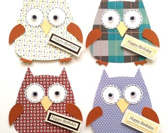 4 Assembled Male Themed Mens Boys Happy Birthday Owl Card Toppers for Card making Scrapbooking Crafting