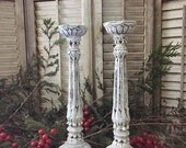 Tall Wood Candle Stick Holders Set of 2 White Christmas Rustic Distressed Winter Holiday Wedding Table Center Piece Chalk Paint Hand Painted