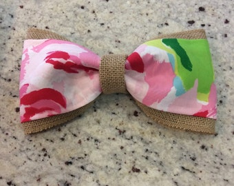 """Lilly Pulitzer burlap bow with """"First Impression"""" fabric"""