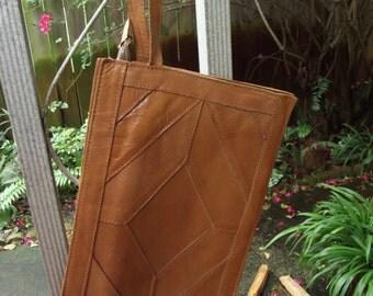 Vintage Leather Multi-Pocket Expandable Handbag