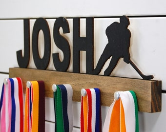 Personalized Hockey Medal Holder - 12 or 20 inch